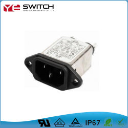 IEC EMI EMC único fusible eléctrico doble conector de alimentación de entrada del filtro de tapón de ruido de la línea con el interruptor y toma