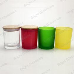 10oz Kruik van de Kaars van het Glas van de Bestseller de Kleurrijke met Houten Deksel voor Decoratie