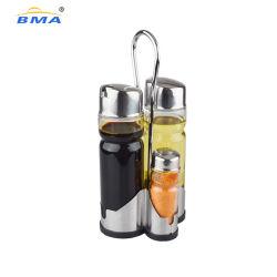 Vidro de suporte de aço inoxidável cozinha Galheta Condimento Definir Pimenta sal e óleo do sacudidor dispensador de vinagre
