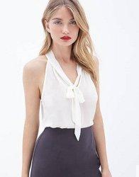 Neuestes Modedesign ärmellose Hemd-Chiffon-Bluse mit V-Ausschnitt und Lady Top