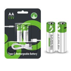 MP3/카메라용 AA 1.5V 리튬 이온 충전식 배터리