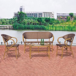 Antique Leisure Retaurant Hotel Resort Villa Casa sala salão com sofá sala de jantar mobiliário mesa e cadeira de vime definir conjuntos de jardim exterior moderno
