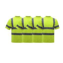 이중 반사 테이프 En471 남성용 Hi Viz Safety 티셔츠 반팔 통기성