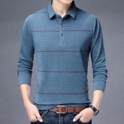 2021 New Fashion Autumn Thin 남성용 폴로 셔츠 긴팔 비즈니스 셔츠 패션 캐주얼 남성용 폴로 셔츠