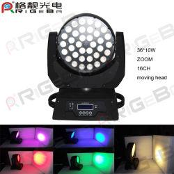 Lampada frontale mobile da palco a LED RGBW Zoom 36PCS 10 W.