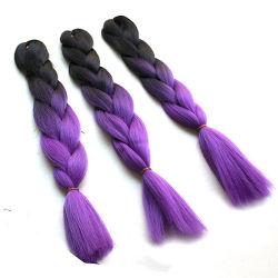 (4 pièces/lot) livraison gratuite 100g 24inch Ombre deux tons Kanekalon Xpression Jumbo case de couleur le tressage des cheveux synthétiques