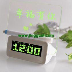 Con un mensaje Reloj despertador digital de la junta