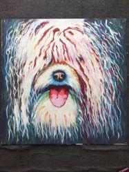Pintura encantadora da arte da decoração da parede do quarto da pintura a óleo da lona do cão