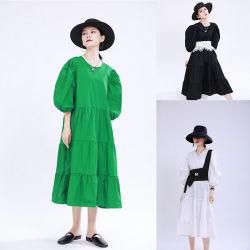 نساء رسن ثوب شريط ثوب [فرنش] [رترو] سائبة طويلة [بوفّ سليف] كبيرة أرجوحة ثوب