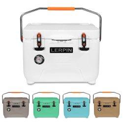 Casella di plastica del dispositivo di raffreddamento del ghiaccio della nuova maniglia portatile di riserva di stile 25qt di Lerpin con il termometro per la promozione