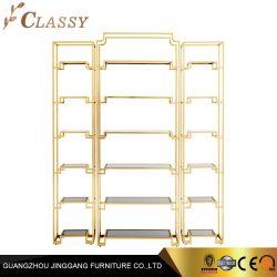 De moderne Boekenkast Stel van het Messing van de Luxe Gouden Roestvrije met de Plank van het Glas van de Bui