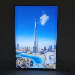 Publicidad en el interior de la película retroiluminada de papel aluminio acrílico de los medios de comunicación Snap luz lateral LED slim Box