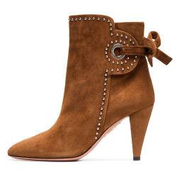 Venda por grosso Lady Fashion Winter Brown Suede Leather pesado o salto alto Botas de tornozelo