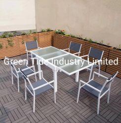 فناء حديقة يتعشّى أثاث لازم كرسي تثبيت خارجيّة مع ألومنيوم طاولة قابل للامتداد