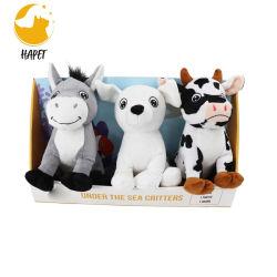 신식 애완 동물 Bb를 가진 대화식 노는 견면 벨벳 장난감에 의하여 놓인 강아지 또는 암소 또는 나귀 만화 장난감은 삐걱거리는 견면 벨벳 장난감을 부른다