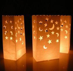 10개의 촛불 랜턴 종이 가방 파티 결혼 생일 축하