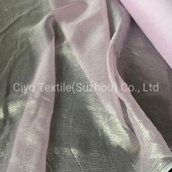 Pura Seda Chiffon tejido metálico brillante Seda Chiffon tejido crecido por la noche nupcial y vestido de novia