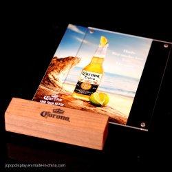 木製の基礎ポスター立場の値段のホールダーA5アクリル磁気メニュー陳列台