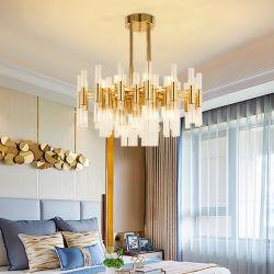 RestaurantのためのDesigner北欧のIron Art Hanging Lampの寝室Gold Metal Rod Glass Pendant Light