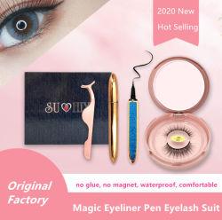 Boîte cadeau faux cils autoadhésives magique Eyeliner s'adapter à l'emballage libre de la colle cils de coups de fouet cosmétique