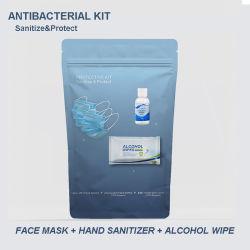 2020 Kit de protección personal al aire libre con máscaras de desinfección de la mano toallitas Antibacterial Travel Kit Kit de máscara de Higienización