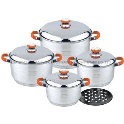 9pcs Induction en acier inoxydable cuire le pot au feu de cuisine mat