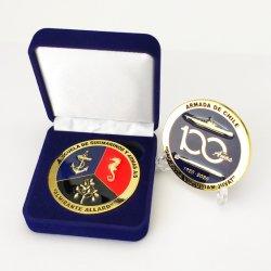 공장 주문 금속 예술 기술 3D 로고 에폭시 금화 Laser 표시 이름표 칠레 해군 군 명예 기념품 도전 동전
