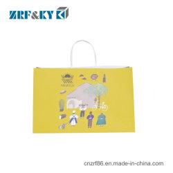 Рекламные Переработанные печатные крафт-бумаги торгового сумка с логотипом
