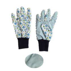 PVC gant en coton en pointillés unique jardin avec poignet tricoté coton en pointillés