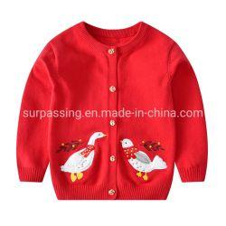 중국 의복 스웨터 아이 착용에 있는 새끼 새 아이 귀여운 어린 소녀 스웨터 긴 소매 카디건 스웨터에 의하여 수를 놓은 의류가 패치에 의하여 수를 놓았다