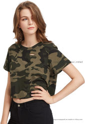 Dames T-shirt met korte mouw katoen Poly Camo Print Distressed Crop