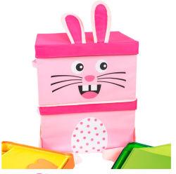 Kreativer rosafarbener Karikatur-Tier-Gewebe-Speicher-Organisator-Kasten für Kinder steuern Dekoration automatisch an