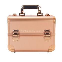 Portable 4 bandejas pequeno salão caso com fechadura para o sexo feminino