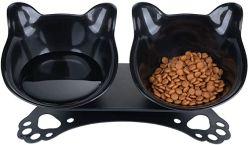 Cat 보울이 기울어진 Cat 음식 보울이 Cat 음식 보울을 올립니다 미끄럼 방지 처리된 PET 이중 15° 경사진 플라스틱 Cat 보울 캣용 고무 베이스 스탠드