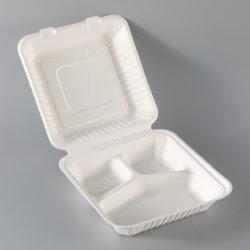 Eco-Friendly 100% biodegradáveis de isqueiros de cana-de-Compartimento 3 balde de 9 pol. branco Bento Almoço Embalagem Caixa de bagaço