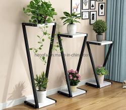居間の植木鉢デザイン鉄の屋内屋外のプラント立場