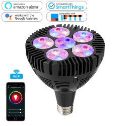 مصباح إضاءة LED من نوع LED بتقنية WiFi الذكية Shell Smart WiFi PAR38 باللون الأسود والألمنيوم 50 واط