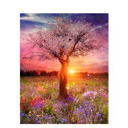 [شنيستوري] دهانة جانبا [نومبرس] لأنّ بالغ حديثة [أيل بينتينغ] جميل شجرة لا إطار نوع خيش صورة زيتيّة