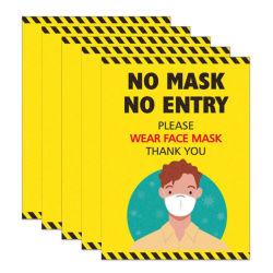 Avviso si prega di indossare un adesivo in vinile adesivo per il cartello con la maschera facciale