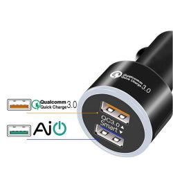 QC3.0 18 W ホットセールタイプ C および USB A LED 車載充電器( LED インジケータ付き)カスタムロゴ