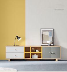Correspondência de cores simples nórdicos armário de TV sala de estar com mesa de chá suporte de TV de mobiliário