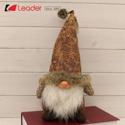 Xmasの装飾およびクリスマスのプレゼントのための長いブラウンによって点を打たれる帽子が付いている魅了された北欧の着席ファブリックノームのクラフトは、あなた自身のファブリック縫う人形をカスタマイズする