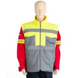 冬の服装のスタンドのカラーの衣類ボディウォーマーは反射テープと 作業着安全保護パッド付きベスト