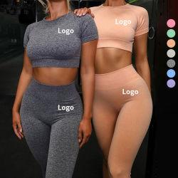 Commerce de gros 2021 Costume de Yoga 2 morceau de Sport Jeux de remise en forme d'usure Shorts femmes Haut de la récolte de l'entraînement yoga fixe