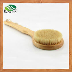 Escova de corpo de cerdas naturais com pega de bambu Longo