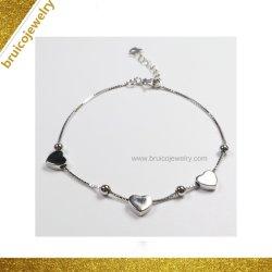 L'argent mince avec la chaîne de charme en forme de coeur Bracelet à breloque de bijoux de mode