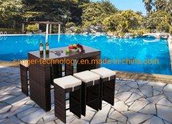 7 pièces Terrasse extérieure avec tabourets de bar Jardin Table ensemble à dîner en plein air en rotin meubles en osier