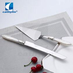 Commerce de gros gâteau de mariage au service de jeu de couteau en acier inoxydable poignée acrylique