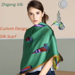 Design personalizado Sarjado Seda Lenços de laminados de mão lenço impresso Digital