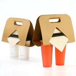 Los envases de bebidas calientes Takeout multifunción de la bandeja de papel Kraft Portavasos